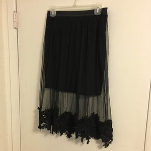 Black Fancy Skirt See Thru with Underskirt  Lace M